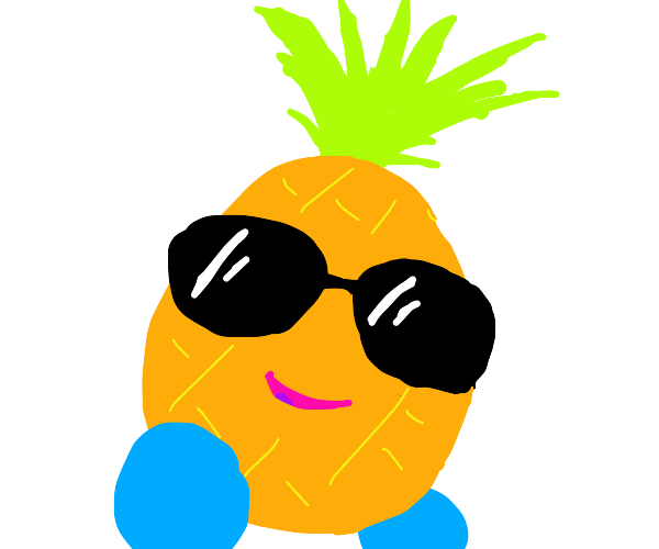 Pineapple with sunglasses and blue shoes