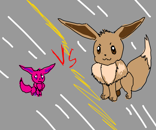 Pink Eevee vs Normal Eevee