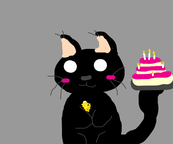 A cat holding a corncob and a birthday cake