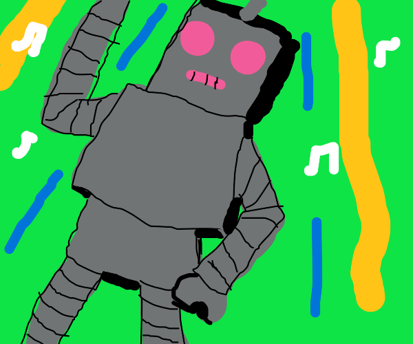 a robot at a dance party