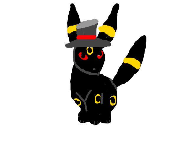 Umbreon wearing a top hat