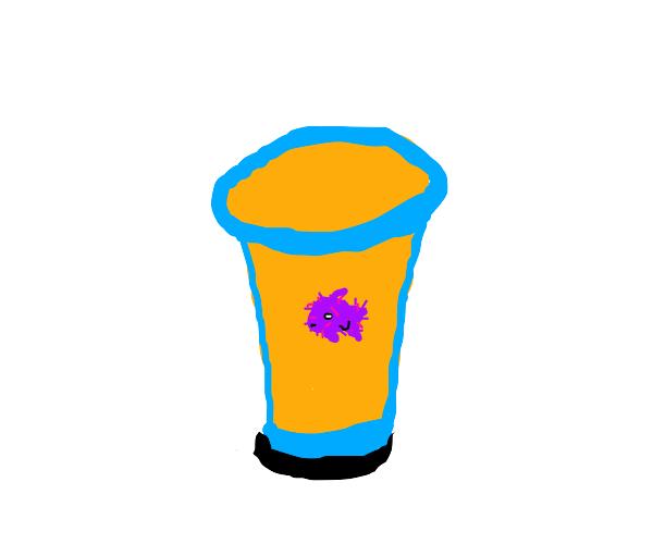 furry fish in orange juice