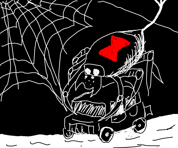 black widow spider carrying a car