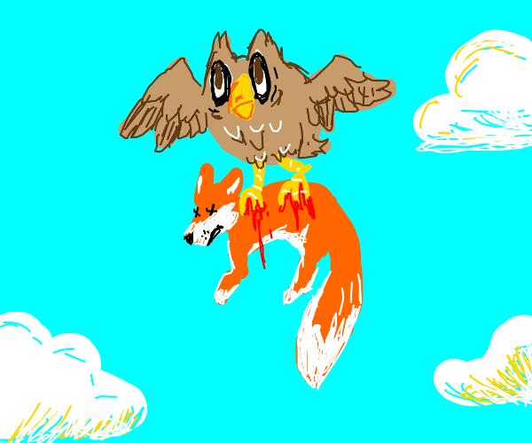 An owl snatches a fox into the sky
