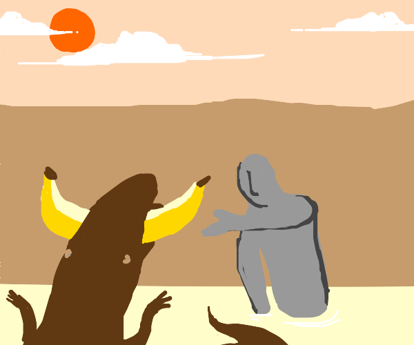 Alligator lovingly offers someone a banana