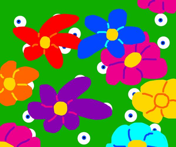 many mike wazowskis, under flowers