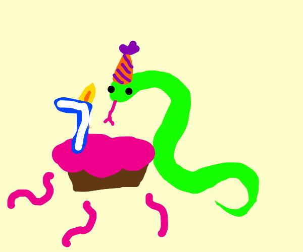 snake celebrates birthday