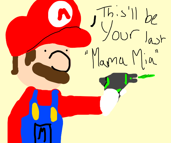 Mario with a green laser gun