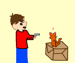 a dude pointing a gun at a cat on a box