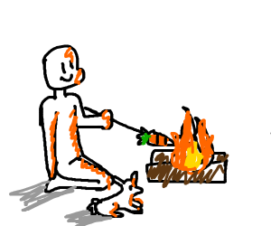 A man and a rabbit are roasting a carrot