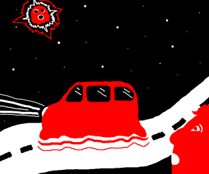 Red man sees a ghost car and ghost star