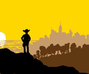 Cowboy sees a city