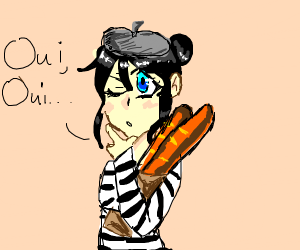 "A French anime girl says ""oui oui"""