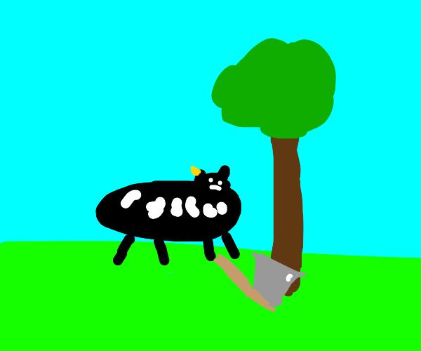 Cow chopping wood