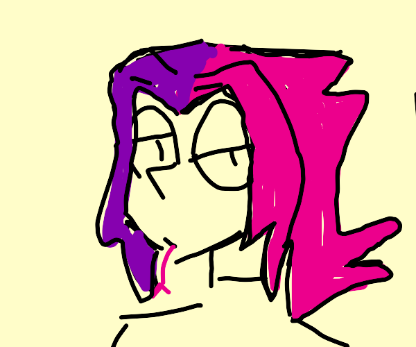 Snake with purple and pink hair