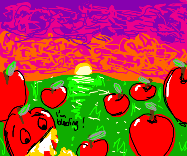 sunset with apples for trees and yellow blood
