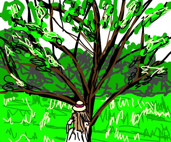 Lady near a tree