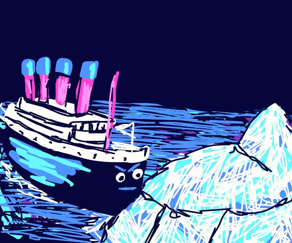 Angry Titanic crashing into an iceberg