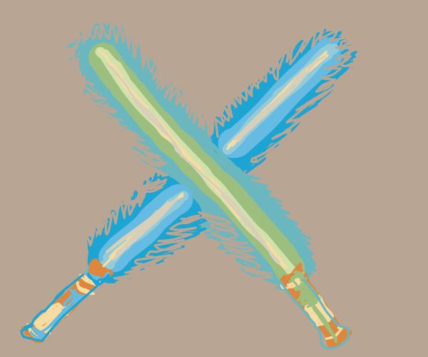 Blue light saber clashing w green light saber