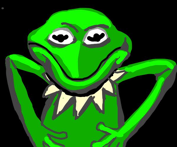 kermit the frog standing menacingly