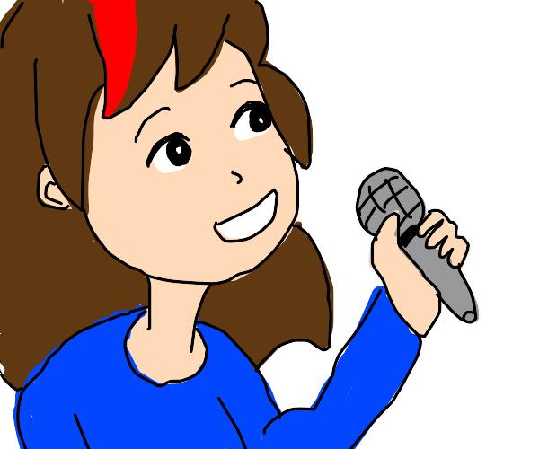 brown hair girl with 1 red streak singing