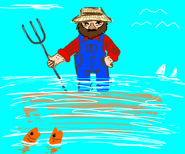 Farmer sinking into the Ocean