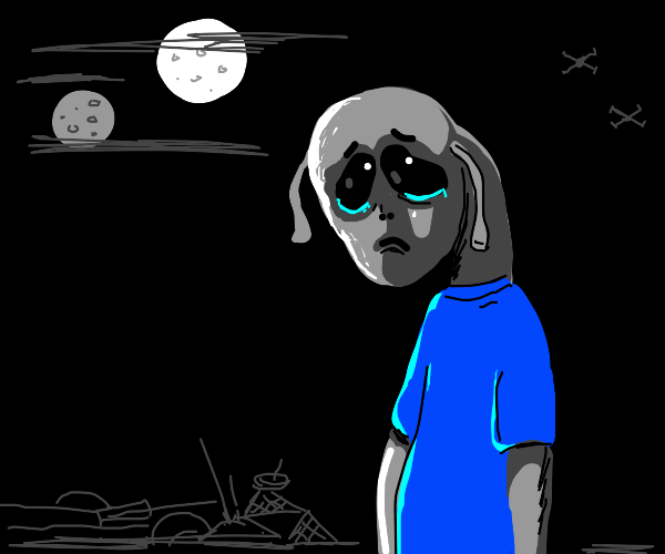 a sad alien fella wearing a blue shirt
