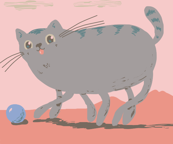 giant cat playing with blue ball