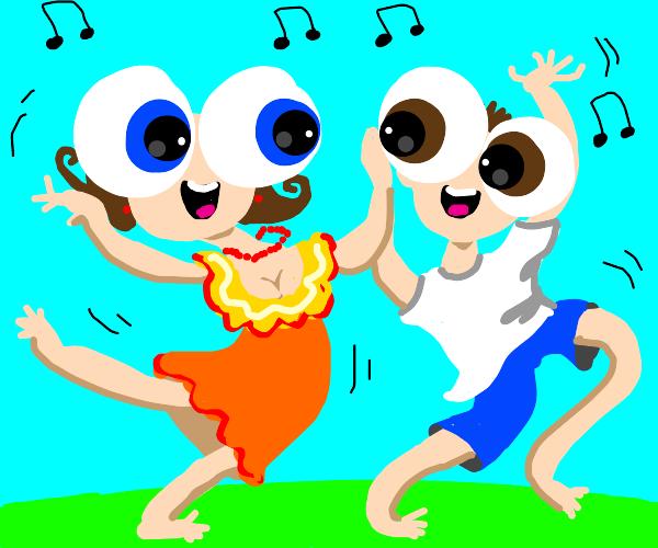 Giant eyed couple dancing