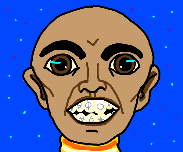 man with big teeth has symbols on his teeth