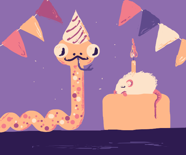 Snake having a mouse cake for their burthday