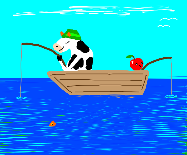 Cow fishing with an apple.