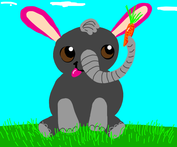 elephant with pink bunny ears