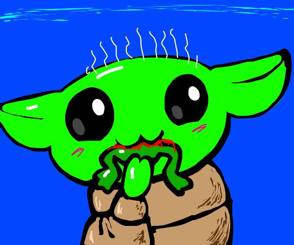 Baby Yoda eats a frog