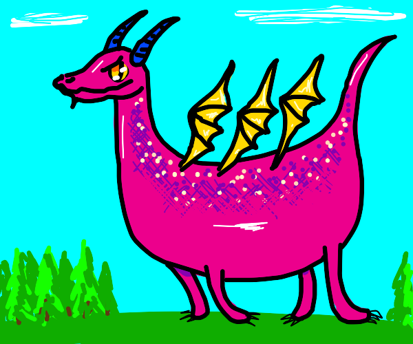 pink dragon with 3 wings and blue horns