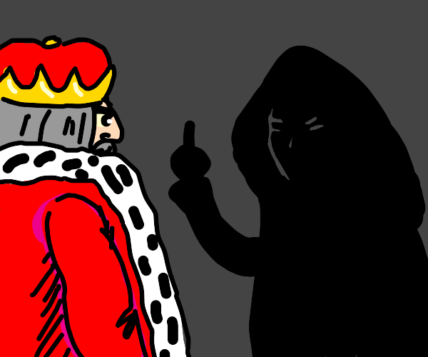 shadow figure insults the king