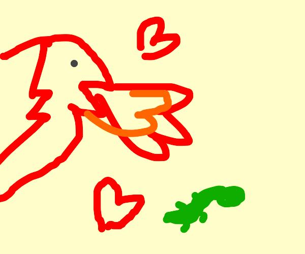 Red dragon loves lizard