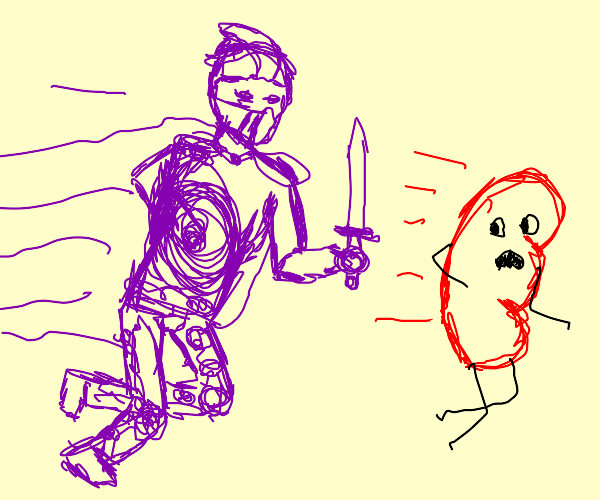 Purple knight chases after animated kidney