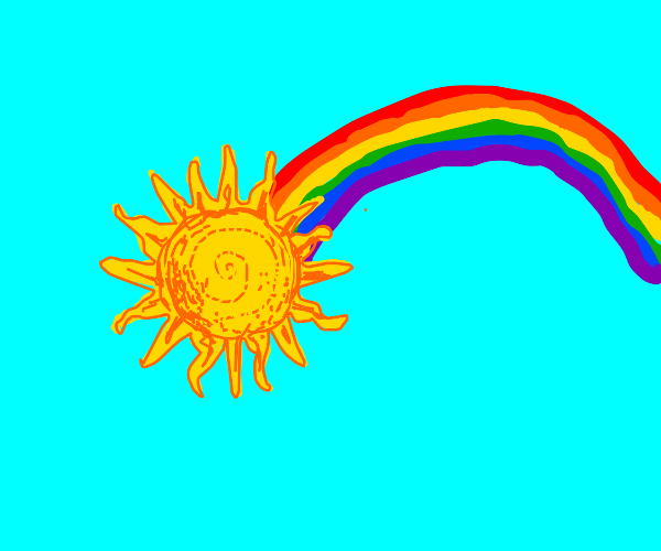 rainbow coming out of the sun