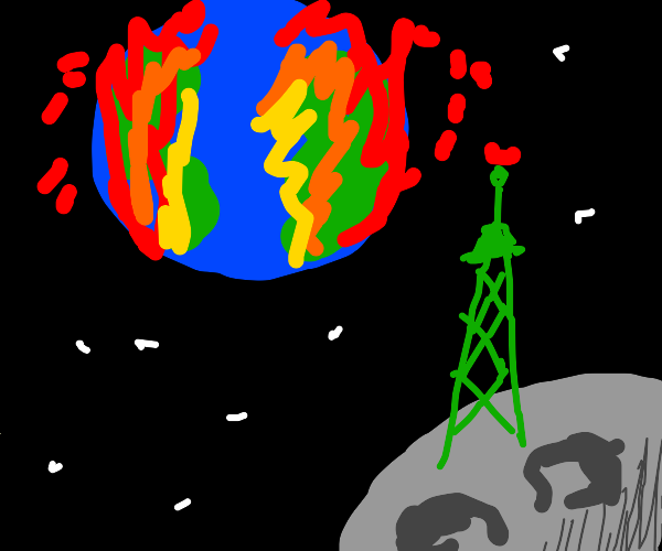 green radio tower on moon watches world end