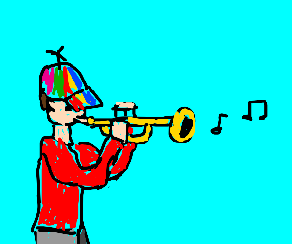 little kid playing trumpet