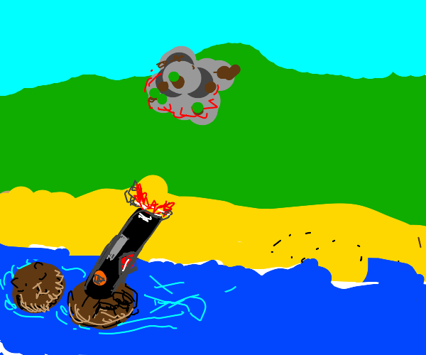 otters calmly nuking a hill