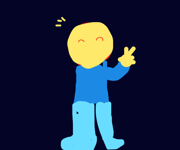 Man with round head and blue clothes