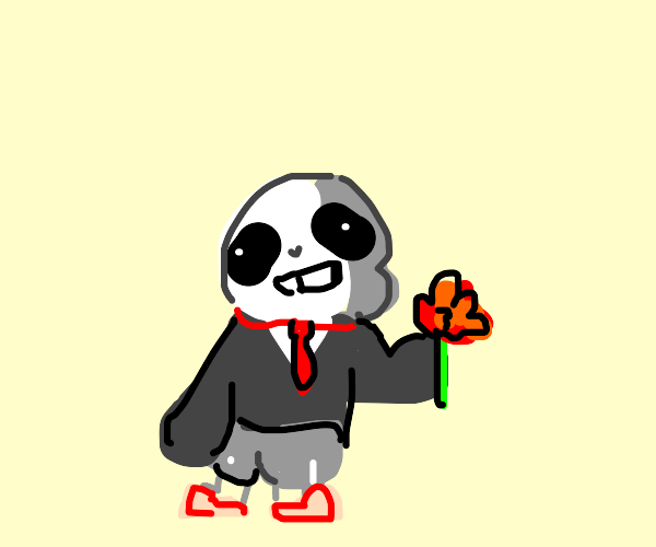 sans giving you a rose in a suit