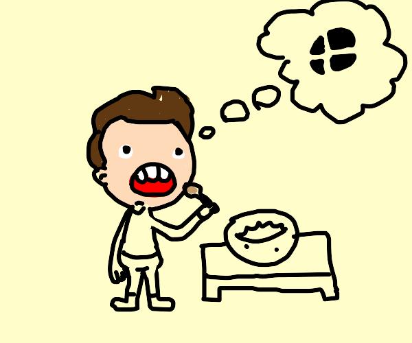 guy eats soup thinking about smash