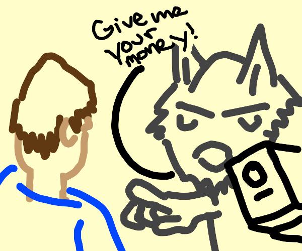 wolf threatening someone