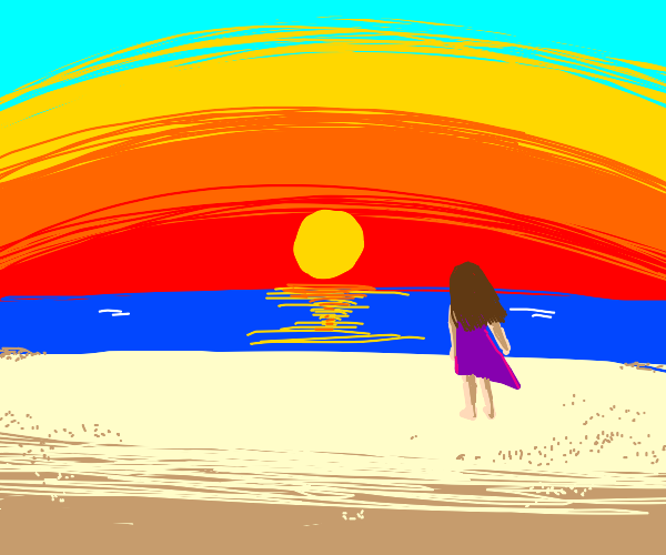 girl standing on a beach during sunset