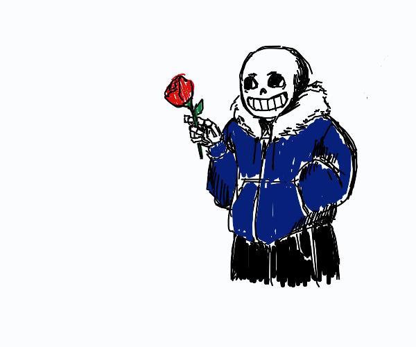 Sans nervously offers you a rose