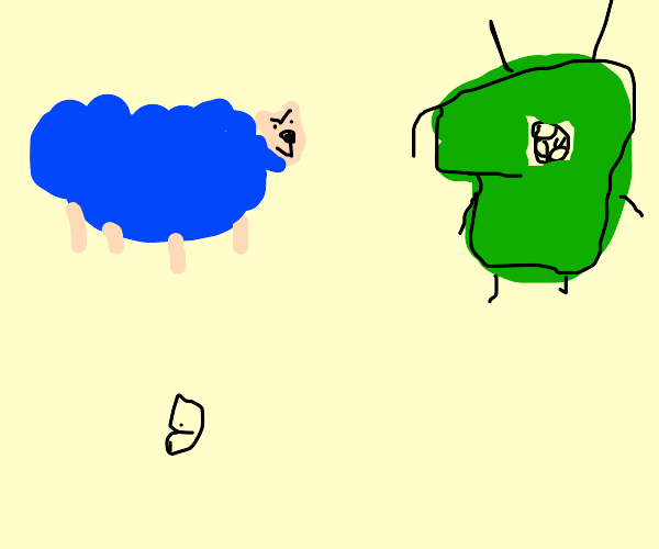 Blue sheep looks at tiny alien