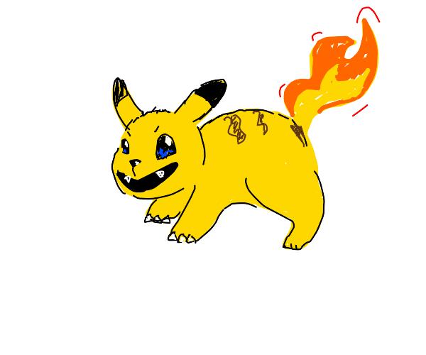 Pikachu + charmander (charizard?) Charkachu